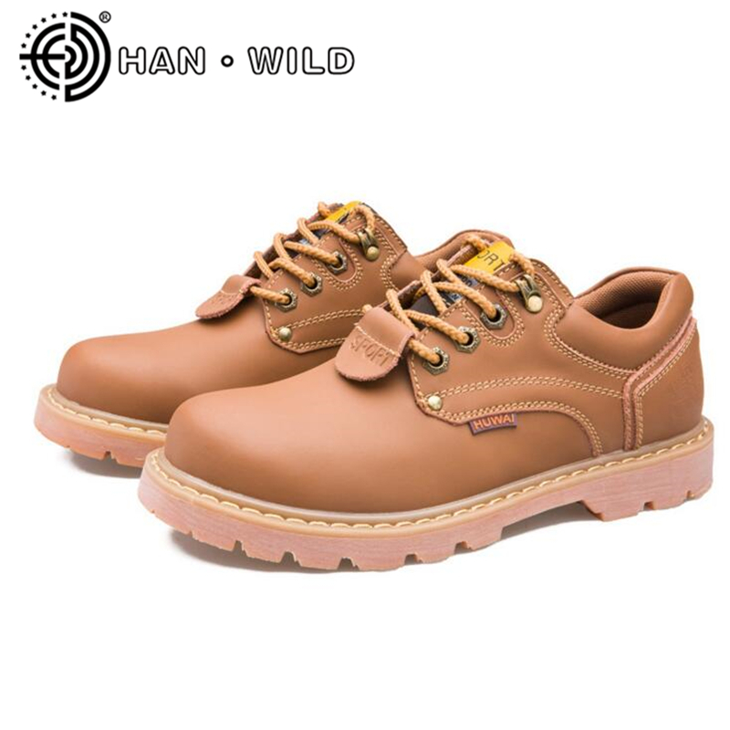 Vintage Fashion Men Low Top Martin Boots Genuine Leather Work&Safety Shoes Non slip High Quality Ankle Boots Men Casual S