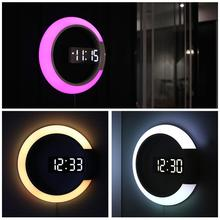 3D LED Digital Table Clock Alarm Mirror Hollow Wall Modern Design Nightlight For Home Living Room Decorations