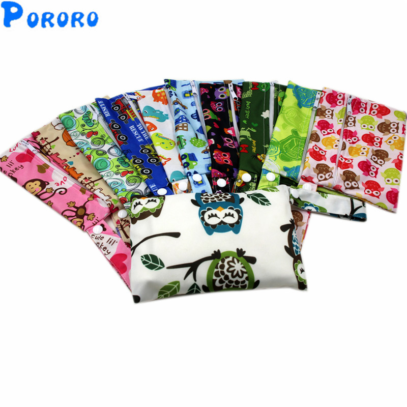 1 PC Waterproof  Wet Bag Baby PUL Cloth Diaper Bag Pocket Zipper Print Reusable Baby Nappy Wet Bags 14x20cm