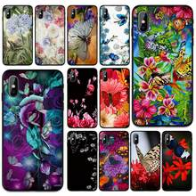 Mariposa en rosas blancas flor suave TPU funda para iPhone 6 De Apple 6S 7 8 Plus 5 5S SE X XS MAX XR fundas de silicona(China)