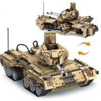 Hot military series building blocks tank plays mobil model 2 in 1 deformation tank blocks assembly toys for children brinquedo
