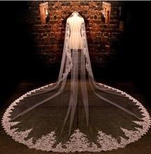 2016 رائع 4 M جديد صور حقيقية الأبيض/العاج مطرزة Appliqued الديكور مانتيا طرحة زفاف طويلة مشط الزفاف اكسسوارات MD2010