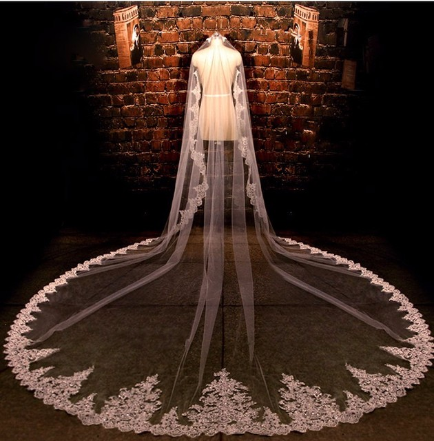 2016 Gorgeous 4M New Real Photos White/Ivory Sequined Appliqued Mantilla Wedding Veil Long Comb Wedding Accessories MD2010