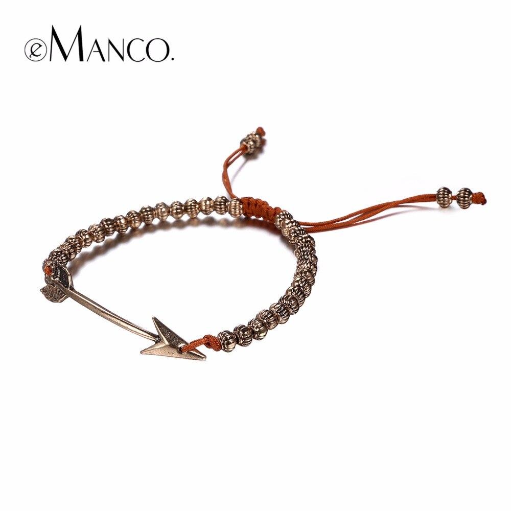 eManco Popular Personalized Handmade Braided Arrow Strand Bracelets for Women Zinc Alloy Brand Jewelry & Accessories
