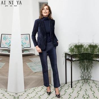 NEW 2017 Navy Velvet 2 piece set women business suits ladies elegant pant suits female office uniform slim women trouser suit
