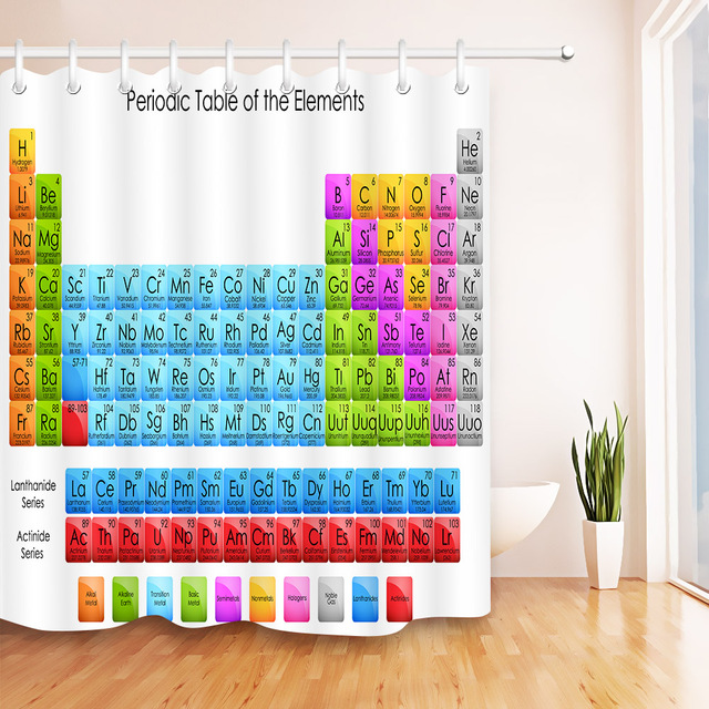 Lb Periodic Table Of Chemical Elements Shower Curtains High Quality