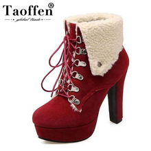 TAOFFEN Women Platform Thick Heel Ankle Boots Woman Round Toe Lace Up Heels Shoes Woman Warm Fur Botas Feminina Size 34-43