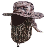 Outdoor Fishing Insect Proofing Camouflage Bucket Hats Military Tactical Hiking Mens Boonie Hats topee