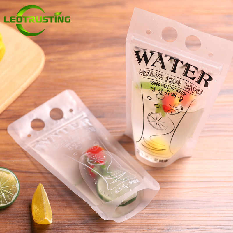 Leotrusting 50pcs 300-500ml Handle Plastic Beverage Bag Matte Juice Milk Coffee Drinking Zip Bag Party Wedding Beverage Pouches