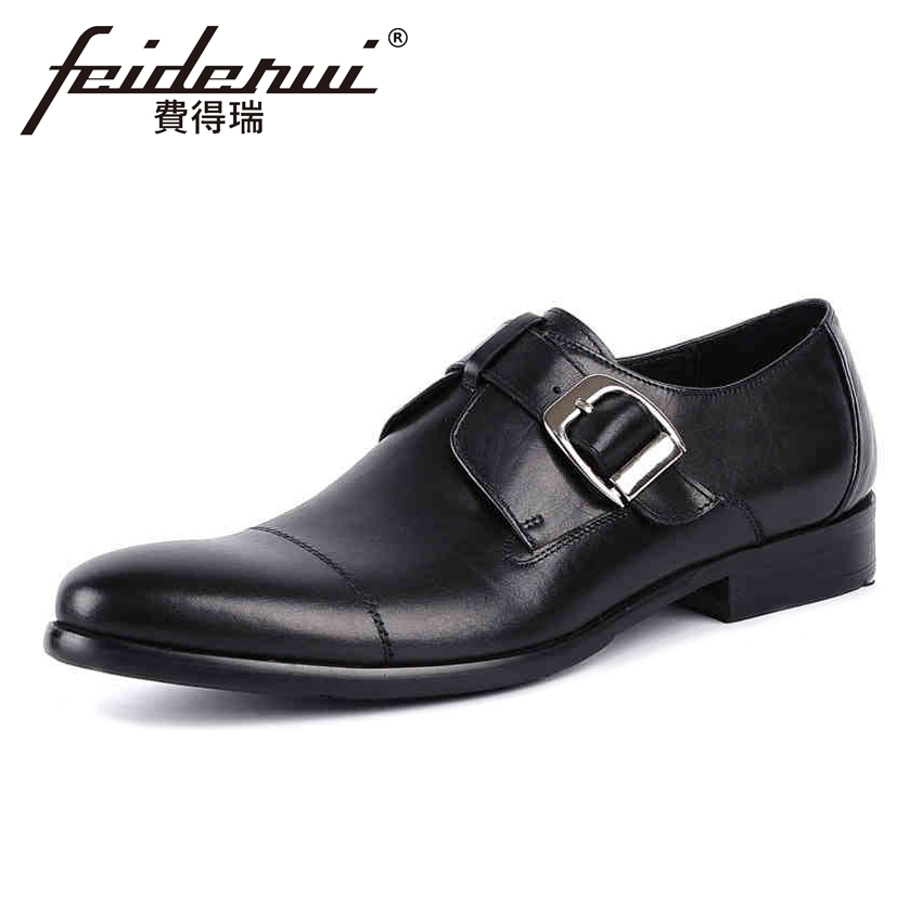 High Quality Genuine Leather Men's Monk Straps Footwear Round Toe Handmade Man Flats Formal Dress Office Male Shoes YMX82 luxury snake pattern patent leather men s monk strap formal dress footwear round toe handmade male casual shoes for man ymx411