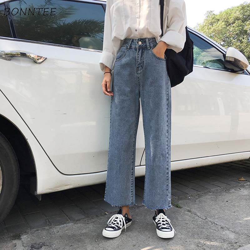 Jeans Women Spring Summer Trendy Retro Solid High Waist Korean Style Streetwear Soft Loose All-match Simple All-match Womens