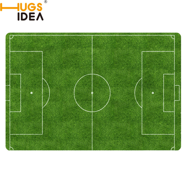 Hugsidea Custom Football Carpet Slip Resistant Rugs Bedroom Floor Mat Doormat Green Court Desgin Funny