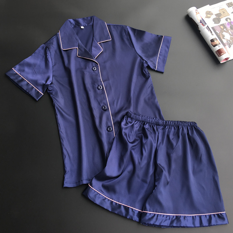 Summer Silk Blue   Pajama     Set   Satin Sleepwear Women Pyjama Femme Sexy Pijama Women Tops+Shorts Two Pieces   Set   Casual Home Clothing