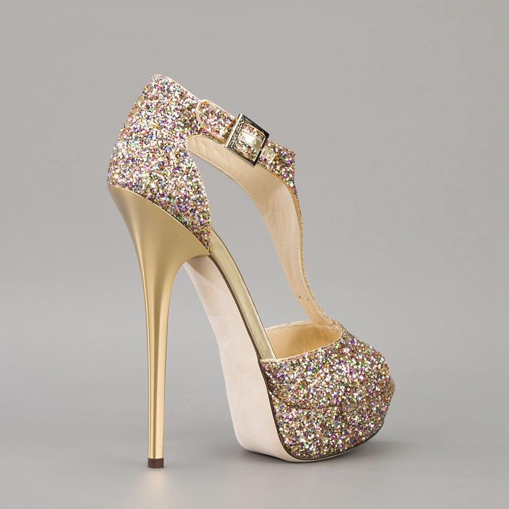 Femininos T Sapatos Femmes strap Décoré Haute Talons Sandales Mode De Toe Multi Mince Glitter Peep Chaussures Élégant Bobine IqwxUZawCt