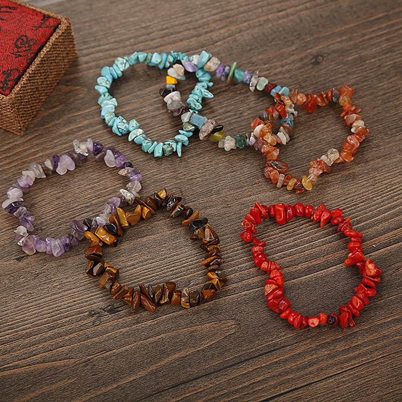 Hot Natural Stone Chip Beads Stretchy Bracelet Ethnic Style Colored Stone Bracelet SMA66 in Strand Bracelets from Jewelry Accessories
