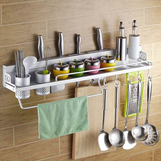 2016 new space aluminum wall mounted kitchen shelf cooking utensil tools hook rack kitchen holder - Wall Mounted Kitchen Shelf
