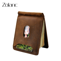 Small Thin Wallet Vintage Credit Card Holder Leather Genuine Mini Money Clips For Men With Zipper
