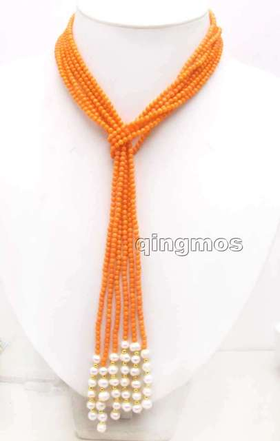 SALE Super long 45'' 3-4mm Round Natural Orange High Quality Coral 3 strands Necklace -nec5958 Wholesale/retail Free shipping