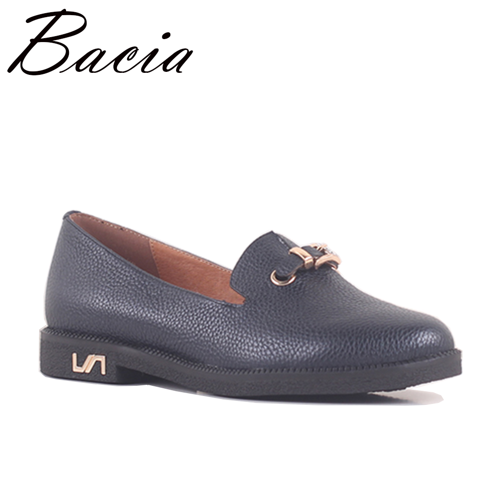 Bacia Genuine Leather Shoes Woman Flats Slip-on 36-40 Blue Soft Cow leather Women Round Toe shoe Quality Loafer Size 36-40 SB048 vintage embroidery women flats chinese floral canvas embroidered shoes national old beijing cloth single dance soft flats