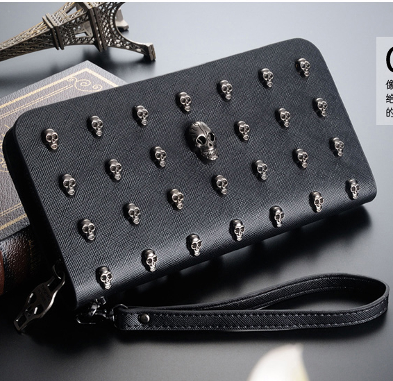 Stacy Bag Hot Sale Women Leather Handbag Zipper Wallet Female Long Design Wallets Skull Rivet Hand Bag Clutch Card Holder Purses