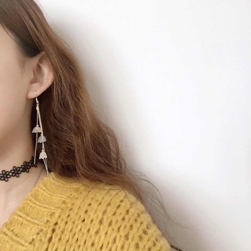 Sul-coreano original feito à mão mini-longo metal borlas brincos terra sino orquídea balançar brincos