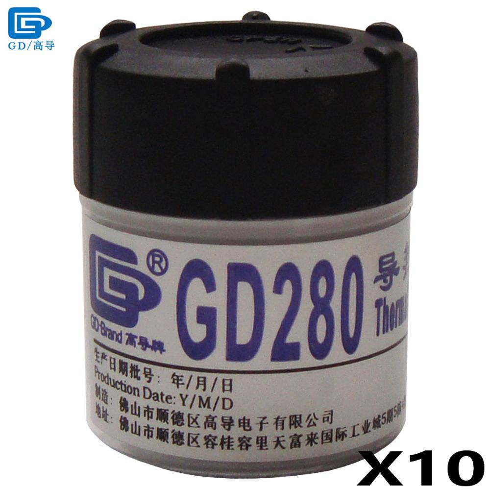 GD280 Thermal Conductive Grease Paste Silicone Plaster Heat Sink Compound 10 Pieces Net Weight 30 Grams Bottle Packaging CN30