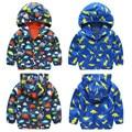 Bebê Meninos Animais Impressão Ocasional À Prova de Vento Com Capuz Casacos Novo Estilo Zip Jaquetas Crianças Outerwear Roupas