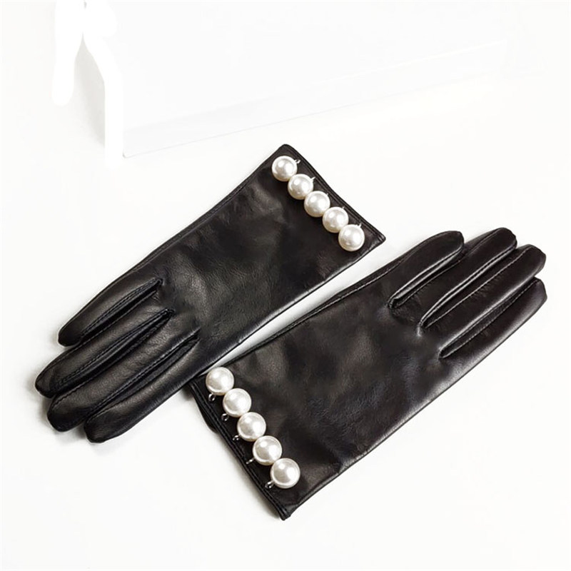 Genuine Leather Gloves Female Vintage Big Pearl Thin Velvet Lined Spring Autumn Driving Sheepskin Gloves Woman TB120