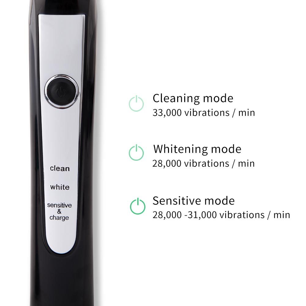 HERE-MEGA Selling Electric Toothbrush Induction Charge Sonic Tooth Brush Electric Waterproof Deep Clean 606 Black