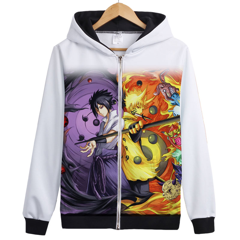 Anime NARUTO Uchiha Sasuke Kakashi Cosplay Printed Zppier Hoodies & Sweatshirts Spring and Antumn Men's Fleece Coat