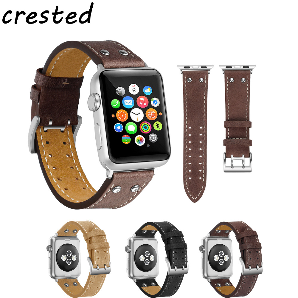 купить CRESTED Cowhide leather strap for apple watch band 42mm 38mm Very strong bracelet watchband for apple-watch iwatch 3/2/1 strap по цене 742.76 рублей