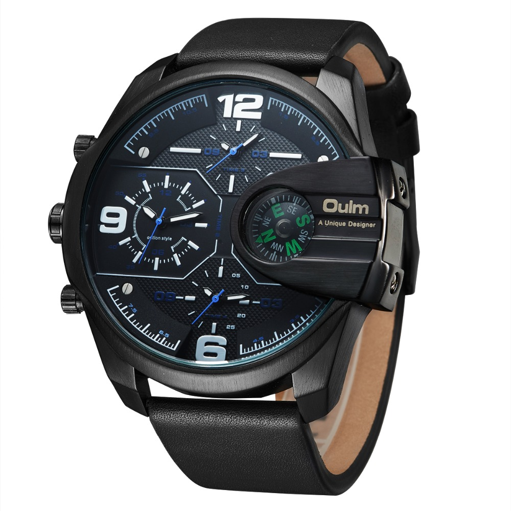 OULM 2018 Military Quartz Watch Men's Watch Compass Stylish Army Leather Strap Sport Modern Double Movement Big Wrist Watches 2017 luxury men s oulm watch sport relojes japan double movement square dial compass function military cool stylish wristwatches