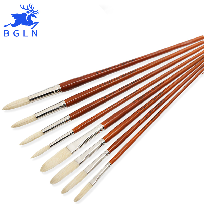 High quality super long stroke bristle oil paint brush acrylic painting brush pointed round - High quality exterior paint set ...