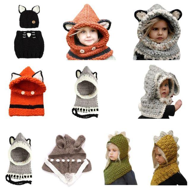 98ea55c38 US $8.54 |Kids Winter Crochet Knitted Hat Wrap Cartoon Animal Earflap Hood  Scarf Skull Cap-in Skullies & Beanies from Apparel Accessories on ...