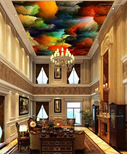 Foto Behang Abstracte Gekleurde wolken 3d Plafond Wallpapers Voor ...
