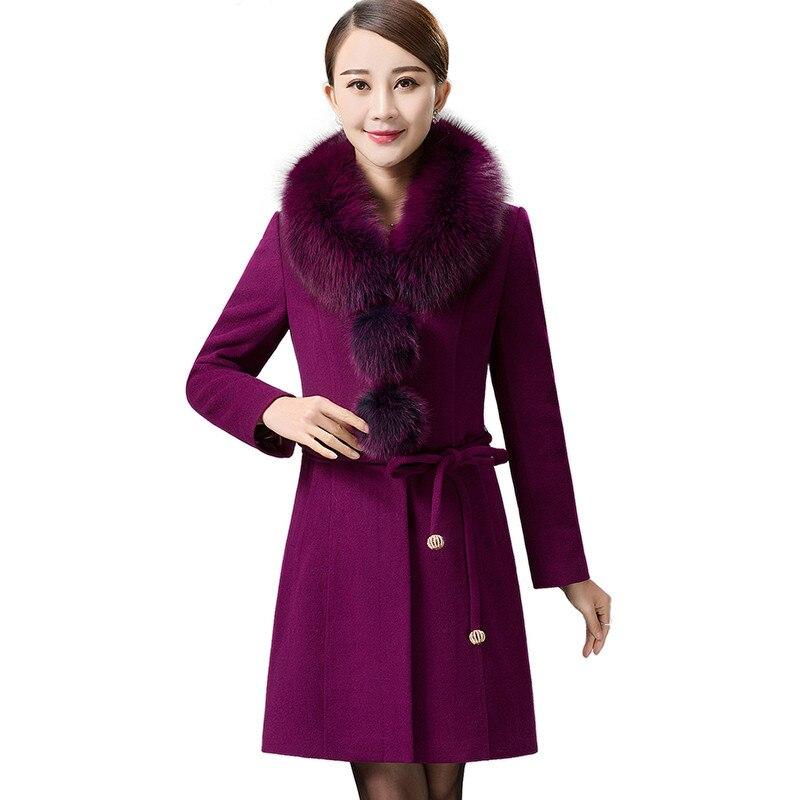 crystal Hiver hibiscus Lâche Mode Blue Long L Purple Plus Feminino Vestes Femmes Col Royal black 5xl Chaud Épaissir 2018 Taille Fourrure Manteaux Manteau Blue Laine De S64 Red Casaco dark gqvww5fB