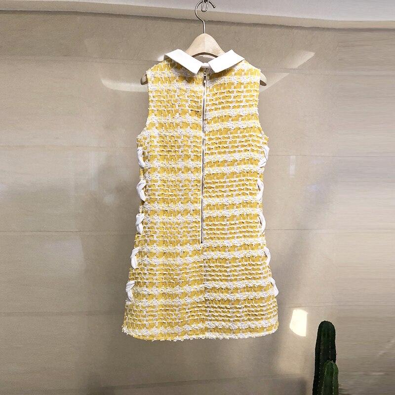 Pan Peter Bowknot Jaune Date Tweed Petit Dentelle up Manches Automne Parfumé Élégante Dame Plaid 2019 Col Robe Gilet Sans 5RL4Aj