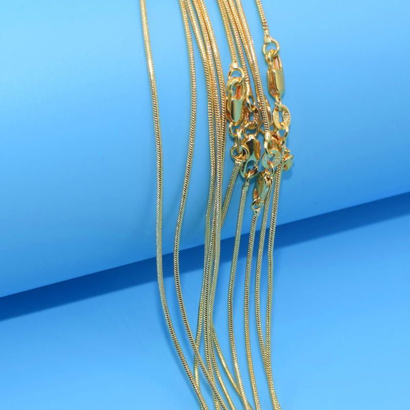 pcs Wholesale K Gold Filled Necklace Fashion Jewelry Snake Link Chain mm