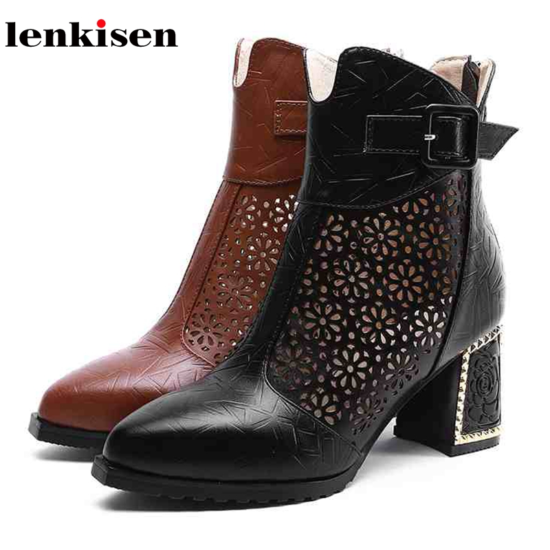 Lenkisen new cow leather pointed toe high totem causal air mesh shoes flowers heel gladiator concise streetwear summer boots L46
