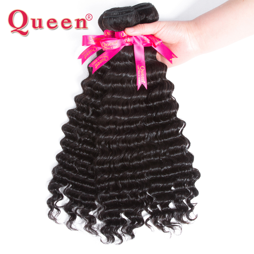 Queen Hair Deep Wave Bundles With Lace Closure Brazilian Human Hair Weave 3/4 Bundles With Closure 100% Remy Hair Extensions-in 3/4 Bundles with Closure from Hair Extensions & Wigs    2