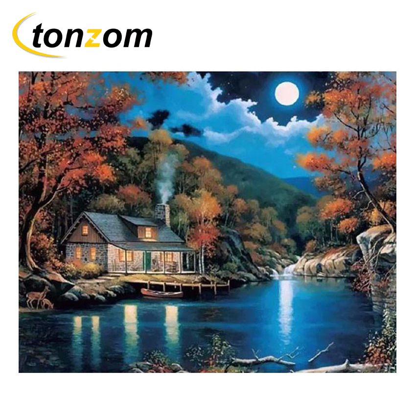 RIHE Blue Sky Cottage Diy Painting By Numbers Desired Place With Light Oil On Canvas Cuadros Decoracion Acrylic Wall