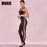 MUXU black bandage jumpsuit bodysuit combinaison femme romper lace bodysuit body suit bodies woman sexy jumpsuits for women