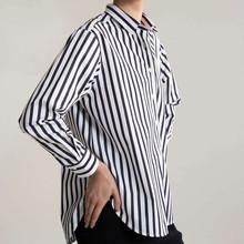 2019 jesień nowy czarne i białe paski koszulka klasyczna koszula w paski dla kobiet tanie tanio Kobiety COTTON REGULAR Na co dzień Czesankowej Pełna NONE Skręcić w dół kołnierz ARFIMAN