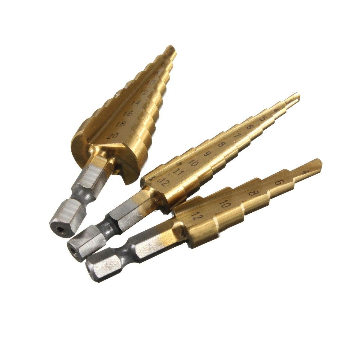 3Pcs Metric Spiral Flute The Pagoda Shape Hole Cutter 3-12,4-12,4-20mm HSS Steel Cone Drill Bit Set HSS Steel Step Sharpening