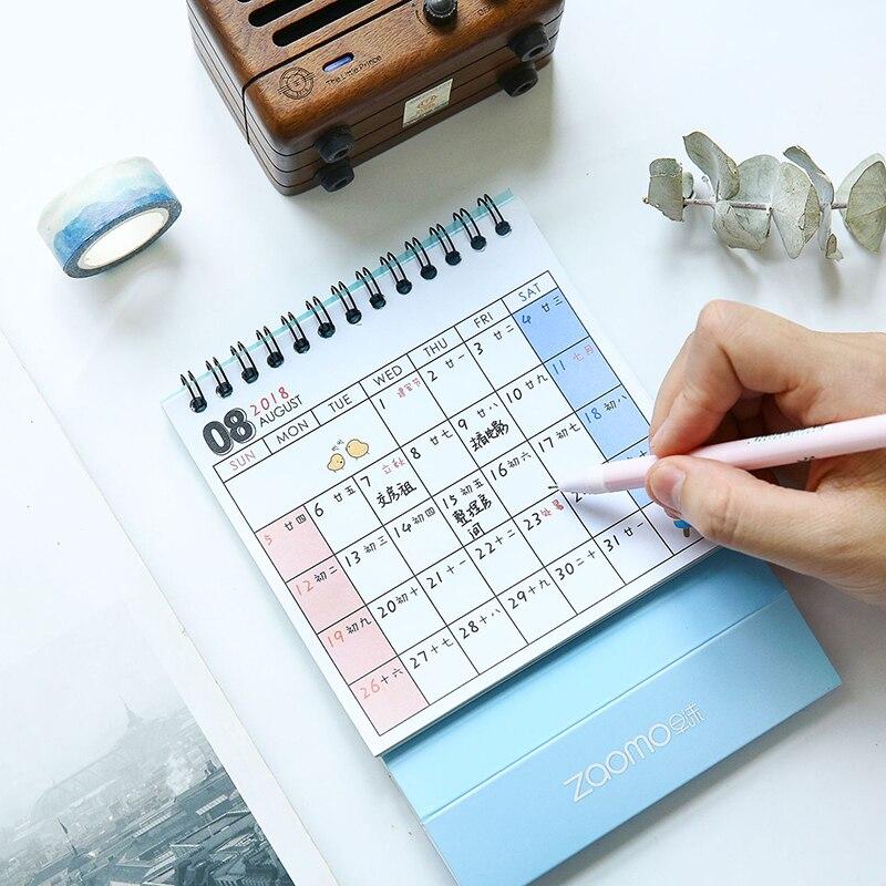 Kalender 2019 2018 Nette Cartoon Katze Tiere Mini Desktop Papier Planer Jährlich Marker Lernen Arbeits Zeitplan Agenda Organizer Top Wassermelonen Kalender
