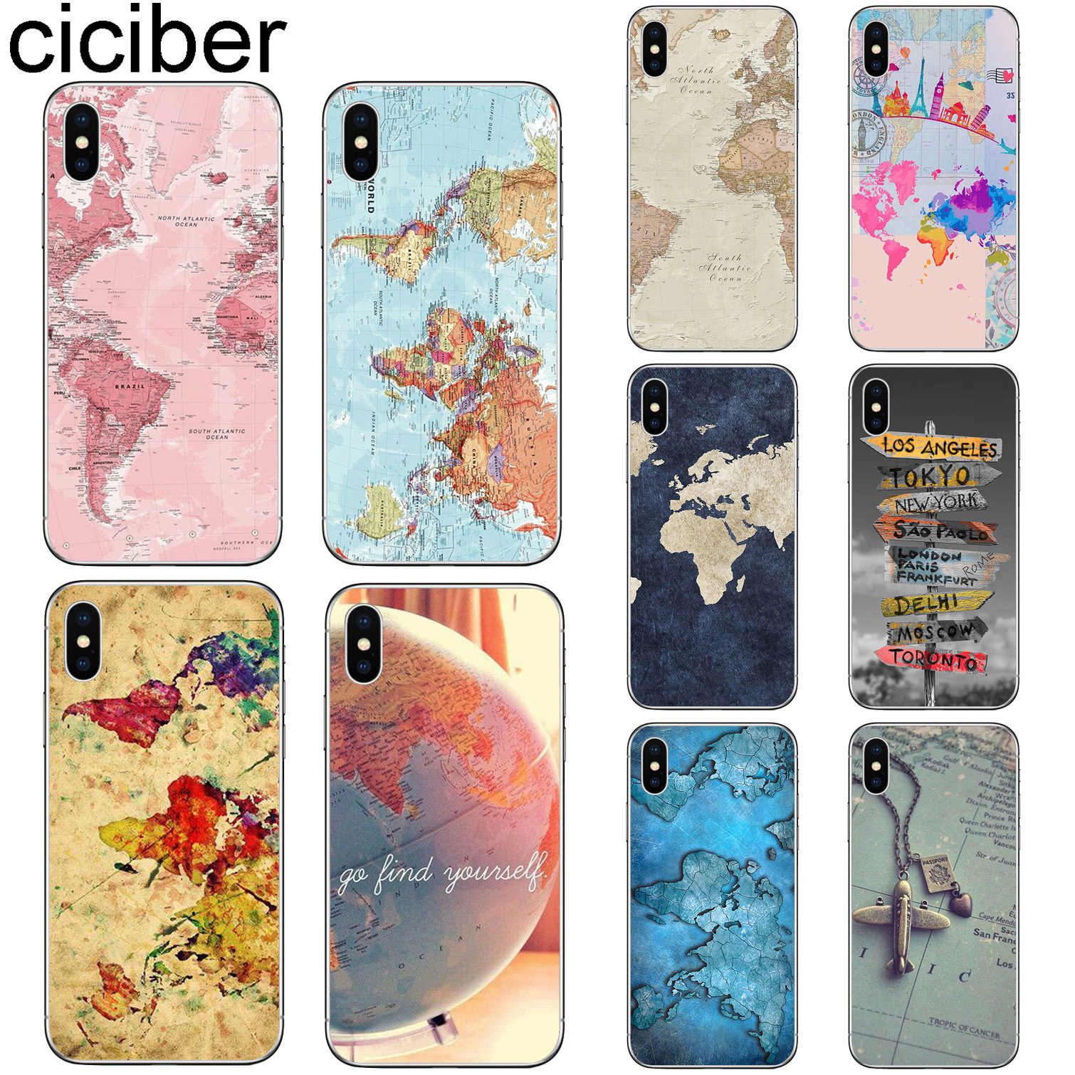 ciciber For Iphone 7 8 6 6S Plus 5S SE X XR XS MAX Cover Soft Silicone TPU for iphone 11 Pro Max Phone Case World Map Travel