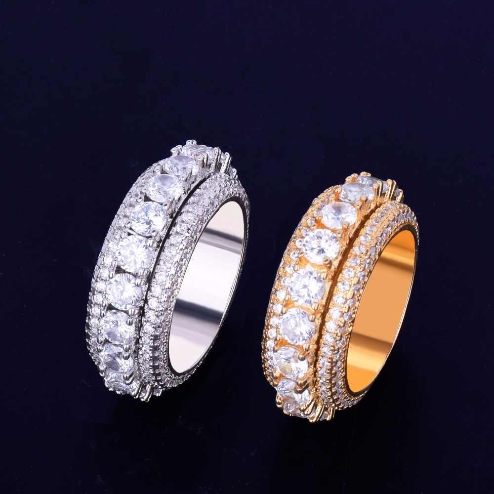 5 แถวผู้ชายแหวน 18 K ทองแดง Charm Silver Silver Cubic Zircon เย็นแหวนแฟชั่น Hip Hop เครื่องประดับหมุนได้