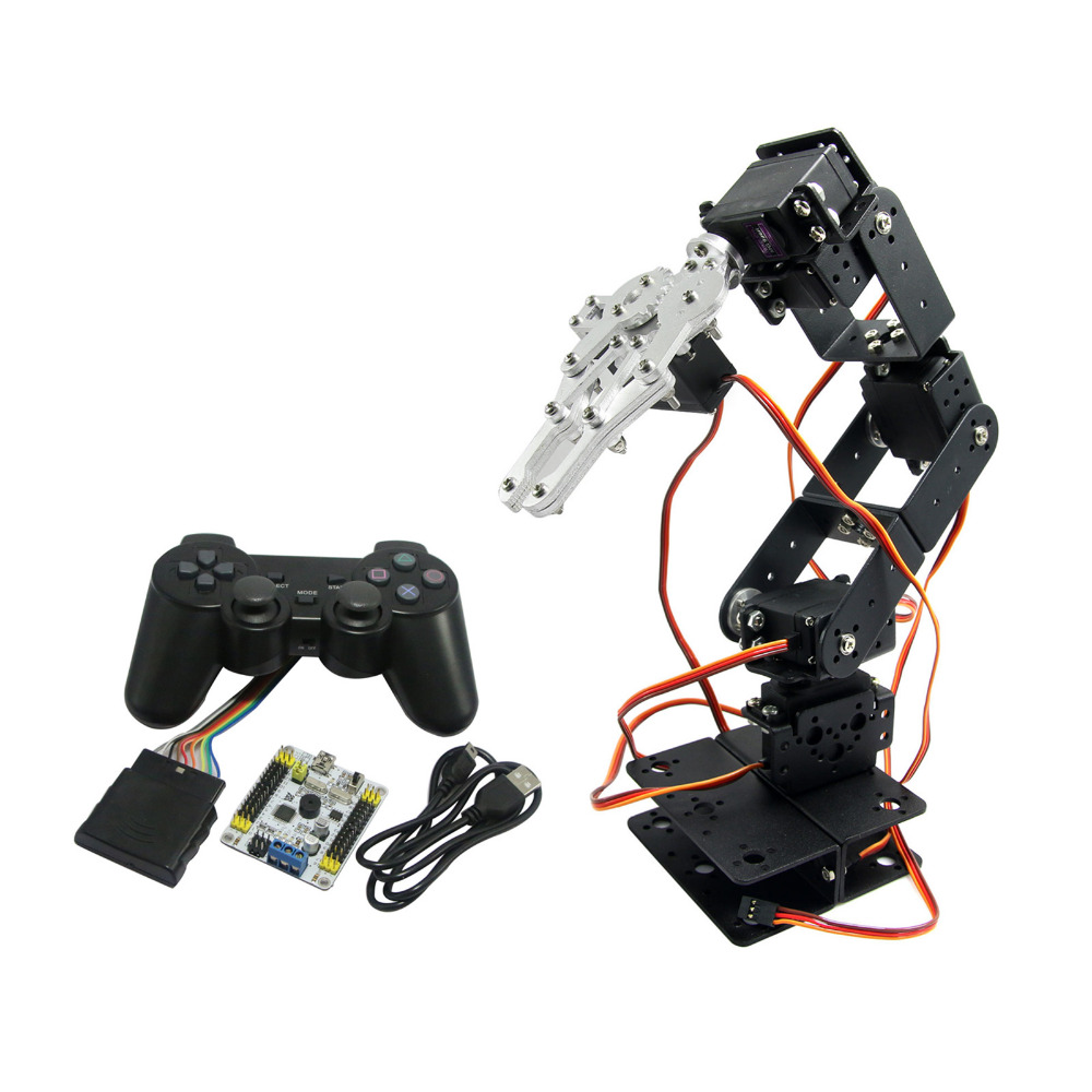 6DOF Robot Arm Mechanical Robotic Arm Clamp Claw & Servos & Controller for Arduino TZT2U wirelessly synchronized robotic arm