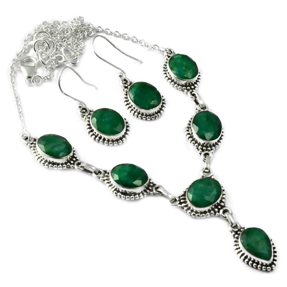 Genunie Cut изумрудное ожерелье + серьги, набор из стерлингового серебра 925 пробы, 51 см, MHBNE0125