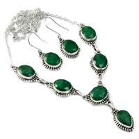 Genunie Cut Emerald Necklace + Earrings set 925 Sterling Silver, 51 cm, MHBNE0125